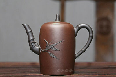 350ml China Yixing authentic zisha teapot hand-carved Two-color high bamboo sect