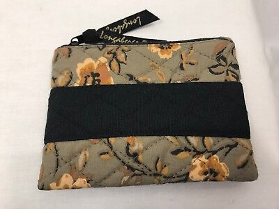 Longaberger Khaki Floral Quilted Coin Purse
