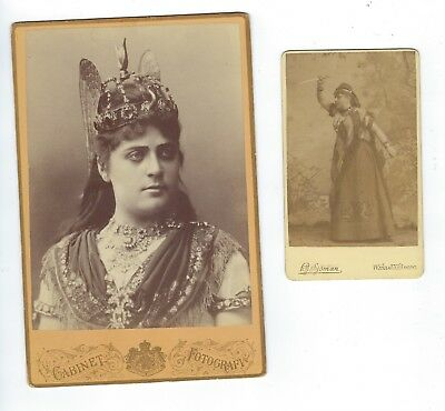 Group of 2 Antique CABINET CARD PHOTOGRAPH Marie Roze French OPERA STAR Costume