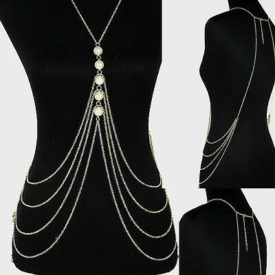 Women Metal Tassel Gold Tassel Body Chain Harness Necklace Fashion Jewelry