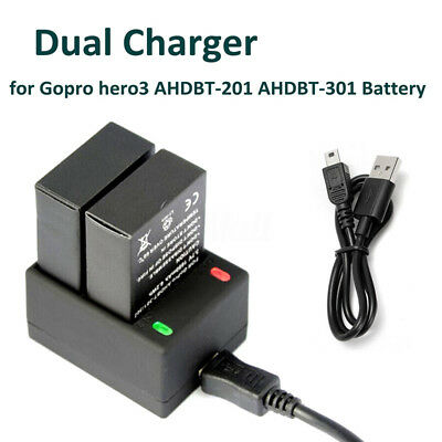 Double Charger Power Supply For Gopro Hero3 AHDBT-201 AHDBT-301 Battery Dock New