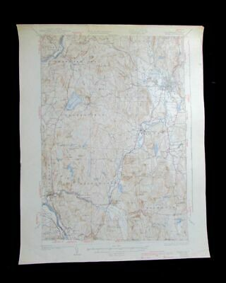 Keene New Hampshire Vermont vintage 1940 old USGS Topo chart