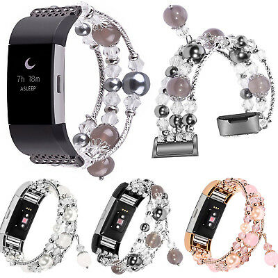For Fitbit Charge 3 Jewelry Bling Agate Beads Strap Watch Wrist Band Bracelet