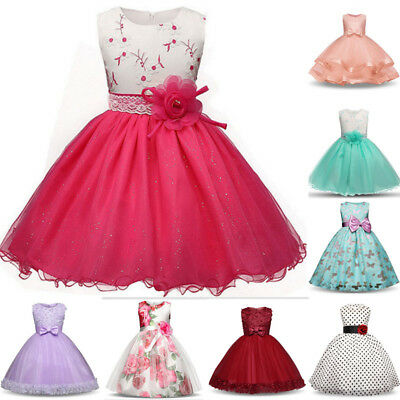 Princess Kids Baby Girl Dress Bridesmaid Party Pageant Wedding Dress Clothes