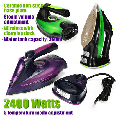 Cordless Steam Iron 2400W Clothes Ironing Charging Portable Soleplate Anti-drip