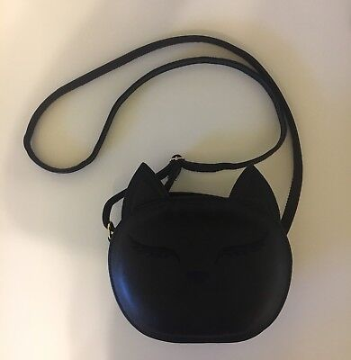 Beibaobao Embroidered Black Cat Face Cross Body Bag With Gold Hardware