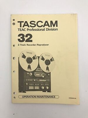 Vintage Tascam Teac 32 Reel To Reel 2 Track Recorder Reproducer Owners Manual