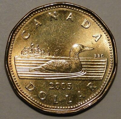 BU UNC Canada 2005 regular loonie $1 dollar coin from mint roll
