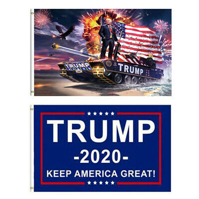 3'x5' Trump Tank Flag 2020 Keep America Great - Elect Donald For USA President
