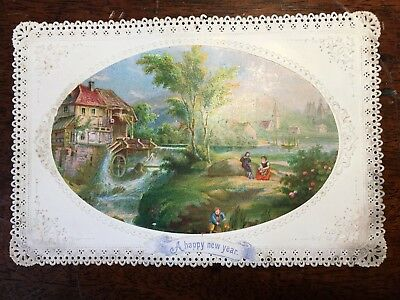 late 19th century a happy new year watermill scene greeting card