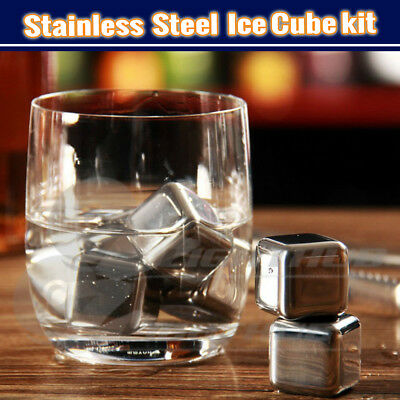 Stainless Steel Whisky Wine Ice Cube Rock Glacier Chiller Drink Stones Tray