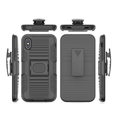 Heavy Duty Armor Belt Holster Shockproof Cover Tough Case For iPhone X XR XS MAX