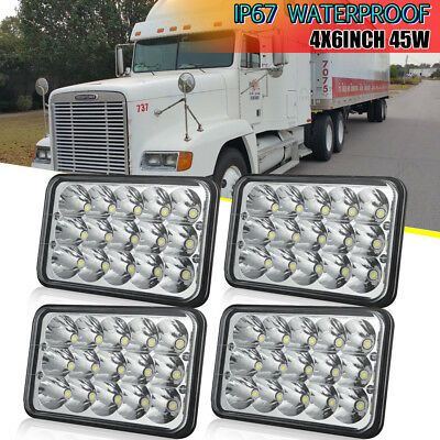 "4X6"" CREE LED Headlight Hi/Lo Clear Bulb Sealed Beam Square Headlamp 2 Pair DOT"
