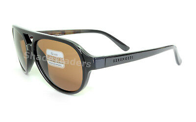 6b61c8384feb Serengeti Giorgio Sunglasses Shiny Black Wood Brown Polarized Brown Drivers  8182