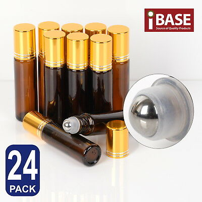 24x Roll on Ball Bottle 10ml Amber Glass Roller Rollerball Perfume Essential Oil