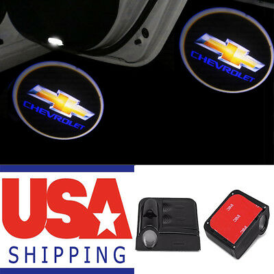2x Wireless LED Courtesy Car Step Laser Welcome Ghost Door Lights For Chevrolet