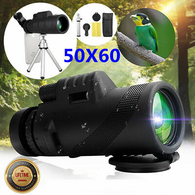 50X60 HD Zoom Optical Lens Monocular Telescope +Clip + Tripod For Smartphone