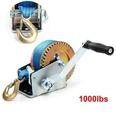 Hand Winch Crank Winch Polyester Strap 1000LBS 26' ATV Trailer Van Boat