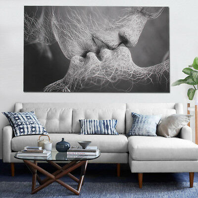 Black & White Love Kiss Abstract Art Canvas Painting Print Picture Wall Décor