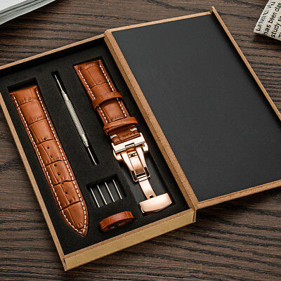 Genuine Leather 22MM-24MM Watch Band Strap Kit Butterfly Buckle Deployment Clasp