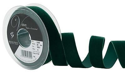 Berisfords Bottle Green Velvet Ribbon Cut Lengths 5 Widths Colour 9621