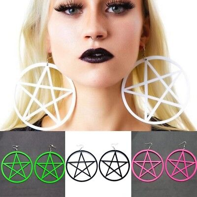 Fashion Punk Rock Big Round Pentagram Star Earrings Hoop Goth Ear Hook Studs UK