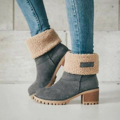 Fashion Women Ladies Ankle Boot Fur Winter Warm Thicken Shoes Snow Boots B