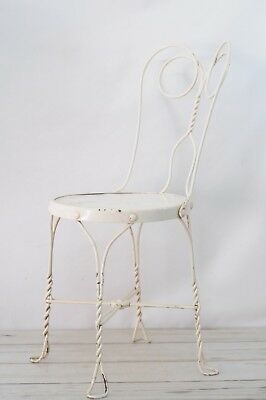 "Vintage White Wrought Iron ice Cream Parlor Chair 35"" High"