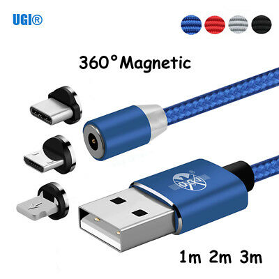1~3M 360° Round Magnetic LED Strong Nylon Micro USB C For iPhone Charging Cable