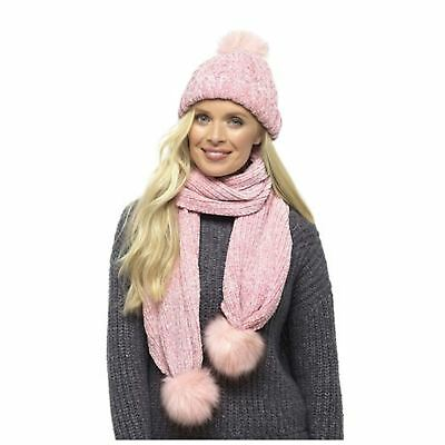 Women Girls Chenille Knitted Faux Fur Pom Pom Hat and Scarf Set