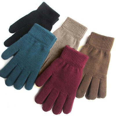 Mens Thermal Thinsulate Knitted Full Finger Gloves Winter Warm Cold Mittens