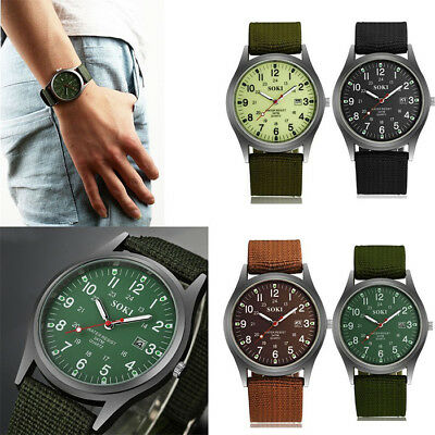 Military Army Mens Date Canvas Strap Analog Quartz Sport Wrist Watch Gift UK New