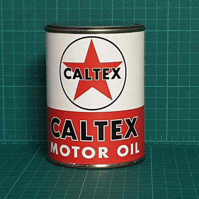 Vintage Replica Caltex Motor Oil Tin Can Reproduction Tin Cans Display Props
