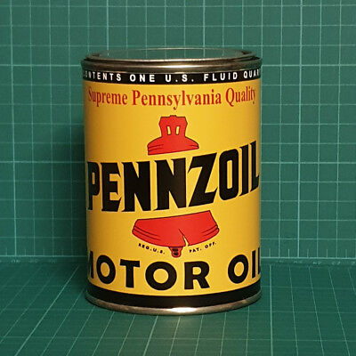 Vintage Replica Pennzoil Motor Oil Tin Can Reproduction Tin Cans Display Props