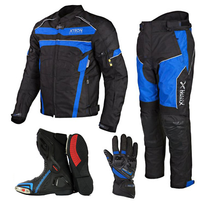 Motorcycle Motorbike Waterproof Combo Leather Jacket Trouser Boots Gloves Suit