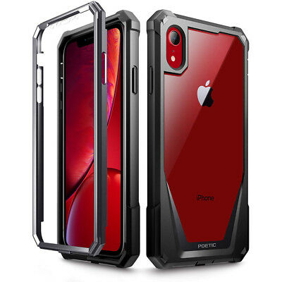 For Apple iPhone XR Poetic Guardian w/ Built-in-Screen Protector Case Black