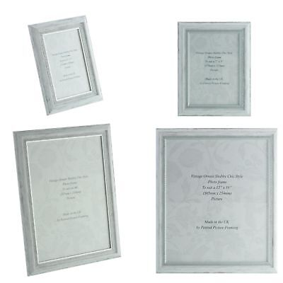 Handmade Ornate White Silver Shabby Chic Vintage 6x4 - 12x10 inch Picture Frame