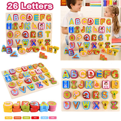Kid's Wooden Learning Puzzle Play Set Alphabet ABC Toy Gifts For Age 1 2 3 4 5 Y