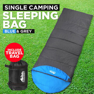 Weisshorn Sleeping Bag Single Camping Envelope Thermal Outdoor Blue Carry Bag