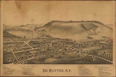 """16"""" x 24"""" 1892 Aerial View Of De Ruyter New York United States"""