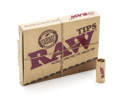 RAW Pre-rolled Filter Tips - 21 tips per pack - Natural Rolling Paper Roaches