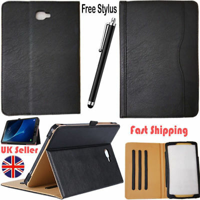 Genuine Leather Book Stand Case&T.Glass For Samsung Galaxy Tab A6 10.1 T580/T585