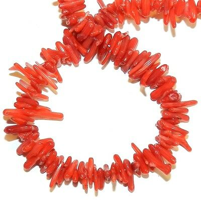 """CRL328 Red Small 7mm - 16mm Fine-Tip Cupolini Branch Bamboo Coral Beads 15"""""""