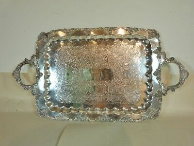 "LIVINTER BROS GRAPE & LEAF BORDER SILVER PLATE on copper SERVING TRAY 22"" x 12"""