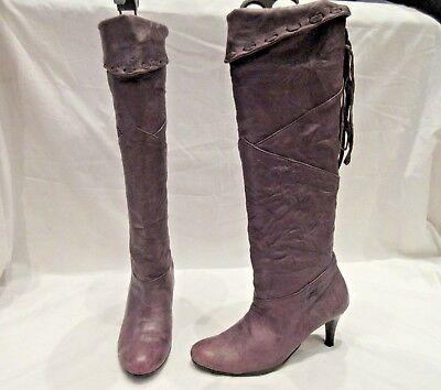 Misope Lilac Leather Long Pirate Pull On Boots Uk 3.5 Korean 225 (1873)