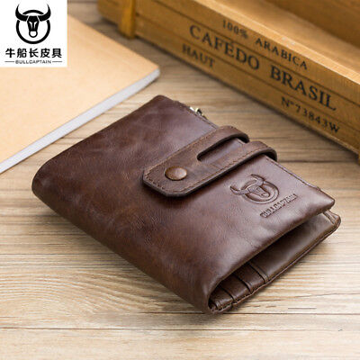 High Capacity Men Genuine Leather Cowhide Wallet Bifold Coin Hi-Q Card Holder