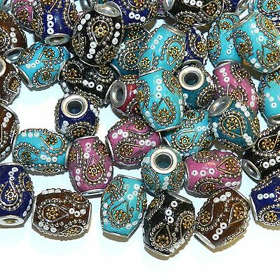 IB365sp Assorted Color 20mm Barrel Embellished Indonesia-Style Focal Beads 9pc