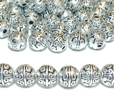 MB777 Antiqued Silver 7mm Round Tibetan-Style Deco Metal Spacer Beads 25pc