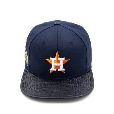 competitive price c0fd1 fede6 Pro Standard Houston Astros Logo Leather Vize Strapback Yankee Navy