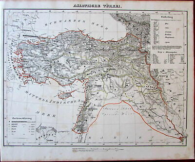Asiatic Turkey in Asia Syria Bagdad Iraq Middle East c.1850 detailed German map